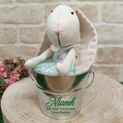First Easter Ballerina Bunny in Silver Bucket - Green