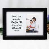 Love Anniversary Valentines Photo Frame Typography Print 4x6 Black