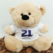 21st Teddy Bear Cream Personalised Plush
