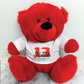 Personalised 13th Teddy Bear Red Plush