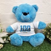 100th Birthday Bear Bright Blue Plush 30cm