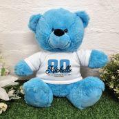 80th Birthday Bear Bright Blue Plush 30cm