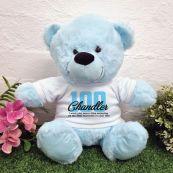 100th Birthday Bear Light Blue Plush 30cm