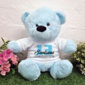 13th Birthday Bear Light Blue Plush 30cm