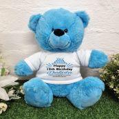 Personalised Birthday Bear Bright Blue Plush 30cm