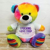 Naughty Love You Valentines Bear - 40cm Rainbow
