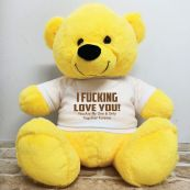 Naughty Love You Valentines Bear - 40cm Yellow