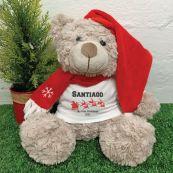 Personalised Christmas Bear Shaggy Brown - Sleigh
