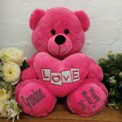 Grandma Bear With Pink Heart 30cm