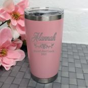 Coach Engraved Travel Mug Insulated 600ml Dusky Pink