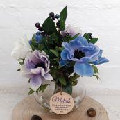 16th Birthday Anemone Berry Flower Mix in Vase - Blue