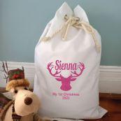 Personalised Christmas Santa Sack 70 x 50 - Glitter Stag