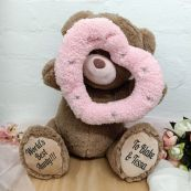 Aunty Bear With Peek-a-Boo Pink Heart 40cm