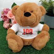 100th Teddy Bear Brown Personalised Plush