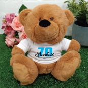 70th Teddy Bear Brown Personalised Plush