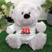 30th Teddy Bear Grey Personalised Plush