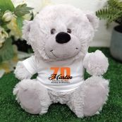 70th Teddy Bear Grey Personalised Plush