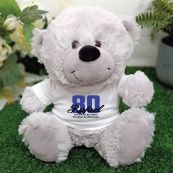 80th Teddy Bear Grey Personalised Plush