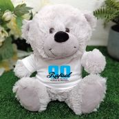 90th Teddy Bear Grey Personalised Plush