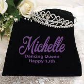13th Birthday Large Crystal Tiara in Personalised Bag
