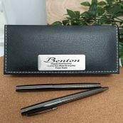 Anniversary Gunmetal Pen Set Personalised Box