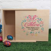 Personalised Wooden Easter Box - Floral Wreath