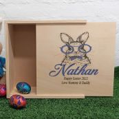 Personalised Wooden Easter Box - Glasses Rabbit