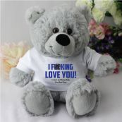 Love You Naughty Valentines Bear - Grey
