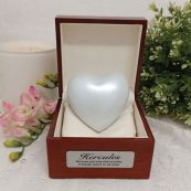 Pet Memorial keepsake Urn For Ashes Pearl White Heart