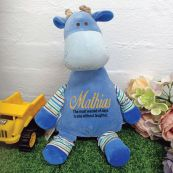 Oeko Blue Giraffe Cubby Plush