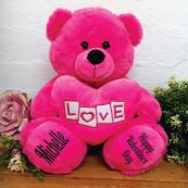Valentines Bear With Pink Heart Pink 30cm