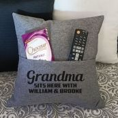 Grandma Personalised Grey Pocket Pillow Cover