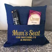 Mum Personalised Navy Pocket Reading Pillow Cover