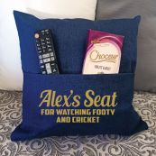 Personalised Navy Pocket Reading Pillow Cover