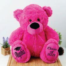 Graduation Personalised Teddy Bear 40cm Plush Hot Pink