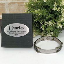 Mens Stainless Steel & Black Bracelet Gift Boxed