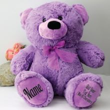 Personalised Teddy Message Bear 40cm Plush Lavender
