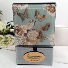 80th Birthday Vintage Gold Glass Trinket Box
