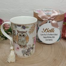 Birthday Mug with Personalised Gift Box - Owl