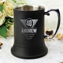 40th Birthday Black Stainless Steel Stein Glass (M)