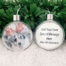 Personalised Christmas Photo Bauble Ornament - Pet