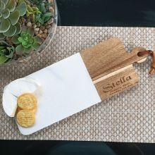 80th Birthday Engraved Cheese Board Marble/Acacia
