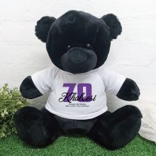 70th Birthday Personalised Black Bear with T-Shirt 40cm