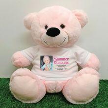 Personalised Memorial Photo Teddy Bear 40cm Light Pink