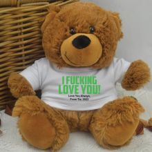 Love You Naughty Valentines Bear - Brown