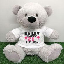 Personalised 21st Birthday Bear Grey 40cm