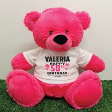 Personalised 50th Birthday Bear Pink 40cm