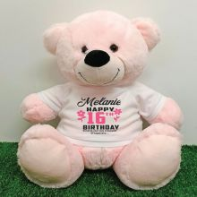 Personalised 16th Birthday Bear Light Pink 40cm
