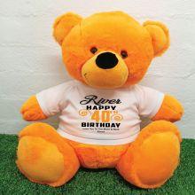 Personalised 40th Birthday Bear Orange 40cm