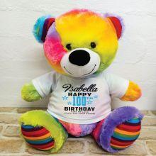 Personalised 100th Birthday Bear Rainbow 40cm